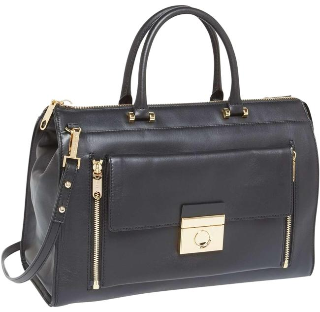 MILLY Sienna 2 In 1 Tote Black Cowhide Leather Cross Body Bag MILLY Sienna 2 In 1 Tote Black Cowhide Leather Cross Body Bag Image 1