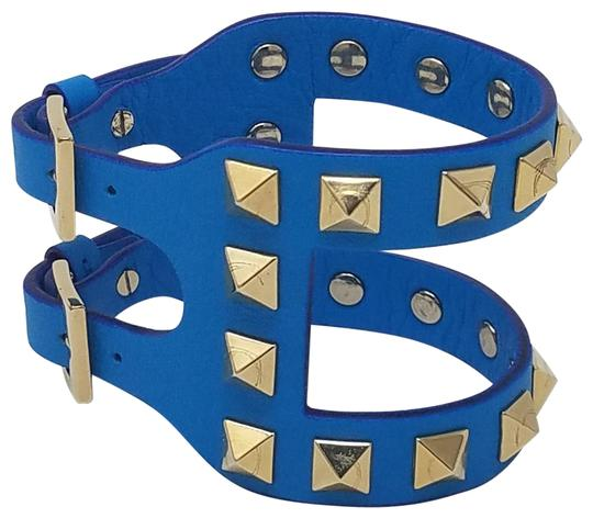 Preload https://item1.tradesy.com/images/valentino-blue-gold-gold-tone-rockstud-open-leather-bracelet-22507355-0-4.jpg?width=440&height=440