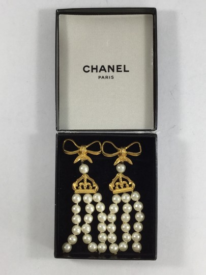 Chanel Gold Bow and Pearl Dangling Clip-on Earrings