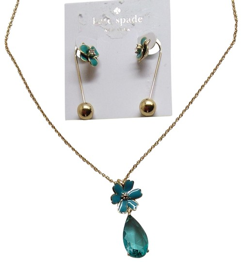 Preload https://item1.tradesy.com/images/kate-spade-aqua-and-gold-flower-necklace-earrings-22507485-0-1.jpg?width=440&height=440