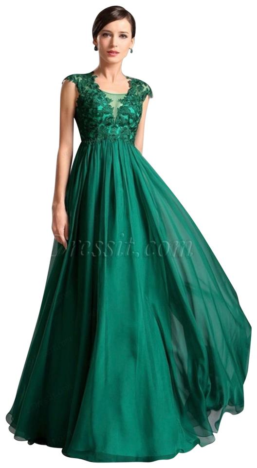 f1583f2bae1e Emerald Green A Line Empire Waist Long Formal Dress Size 8 (M) - Tradesy