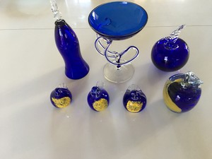 Blue and Gold Collection Of Glass Souvenir Glass Pieces Decoration