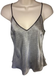 7 For All Mankind Camisole Silk Adjustable Straps Top Black and White