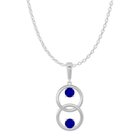 Preload https://img-static.tradesy.com/item/22507524/blue-silver-two-stone-sapphire-double-circle-pendant-925-necklace-0-0-540-540.jpg