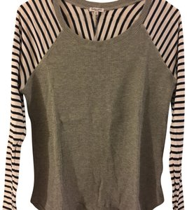 Splendid T Shirt Grey with Navy Stripes