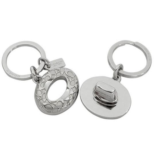Coach AWESOME! COACH Signature C Turn-lock Valet Key Ring In Silver