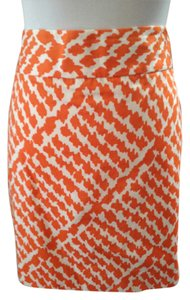 J.Crew Casual Career Spring Summer Mini Skirt Orange and White