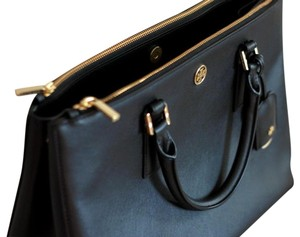 Tory Burch Saffiano Leather Work Macbook Tote in Black