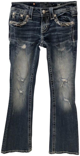 Preload https://img-static.tradesy.com/item/22507762/miss-me-blue-distressed-gold-glitterback-boot-cut-jeans-size-26-2-xs-0-3-650-650.jpg
