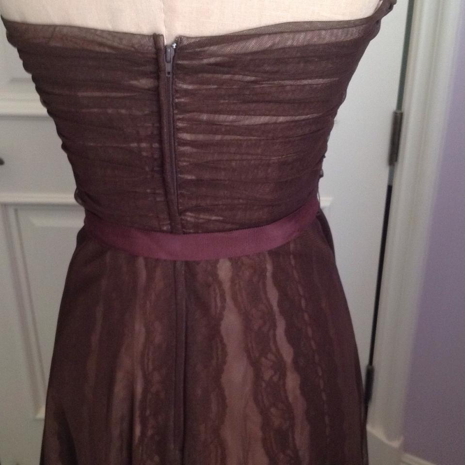 BCBGMAXAZRIA Chocolate Brown Lace and Tulle Mid-length Cocktail ...