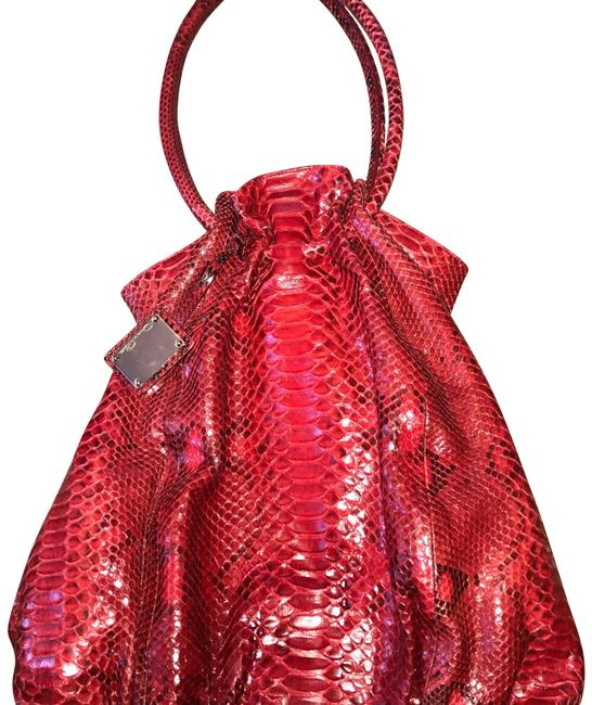 Item - Round Handle Red Python Skin Leather Satchel
