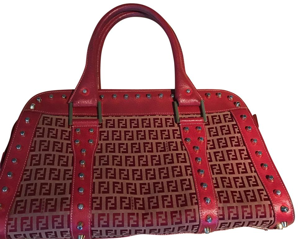 5fb668a0455e Fendi Vintage Studded Logo Red and Gold Leather Satchel - Tradesy
