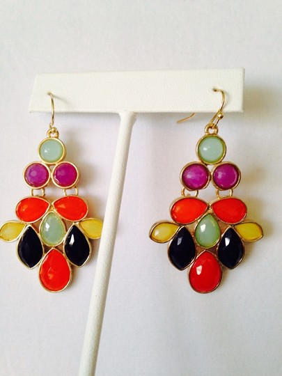 Other Embellished by Leecia NWOT Faceted Multi -Color Chandelier Earrings