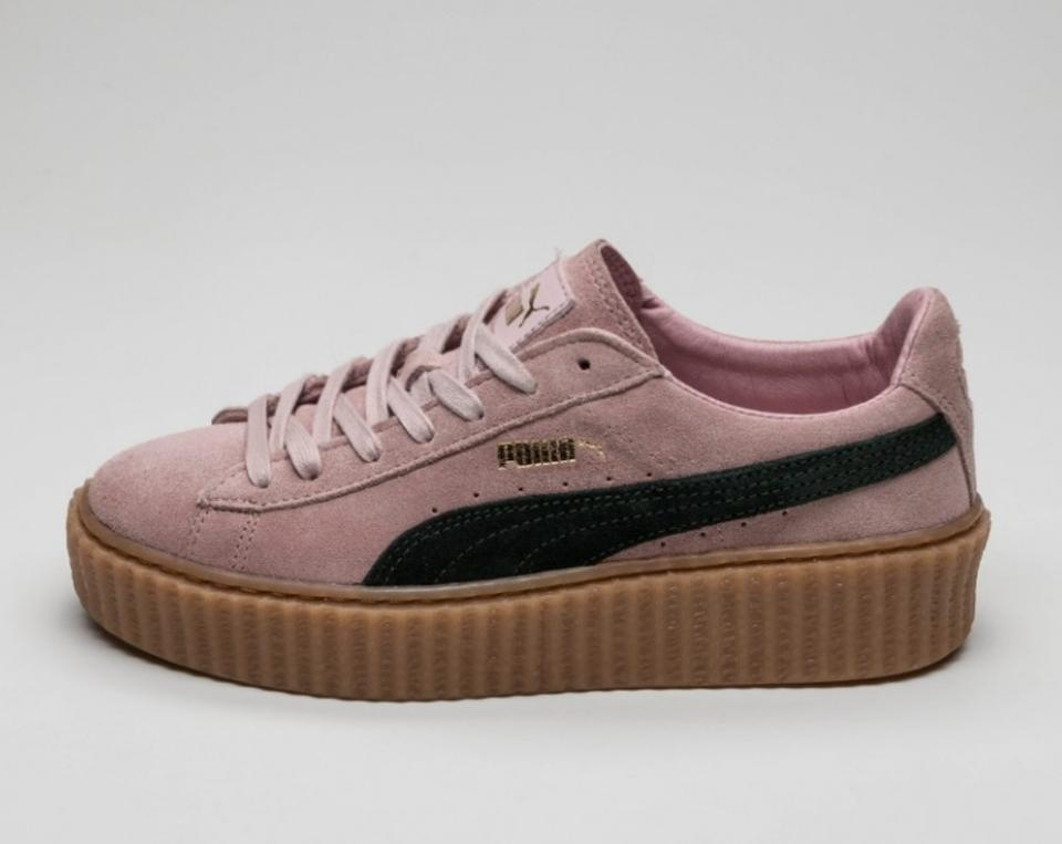 FENTY PUMA by Rihanna Coral Cloud Pink Ultramarine Green Oatmeal Women's Suede Creeper Lace Up Sneakers Size US 9.5 Regular (M, B)