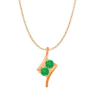 Marco B Two Stone Emerald Freeform Pendant Rose Gold Vermeil