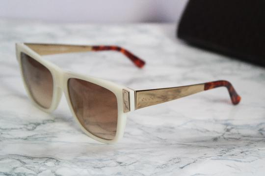 Gucci NEW Gucci GG 3718/S Oversized Flat Top Sunglasses in White Gold Metal