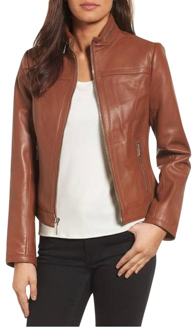 Preload https://item3.tradesy.com/images/michael-kors-cognac-racer-brown-vintage-leather-stand-collar-fitted-size-2-xs-22508042-0-1.jpg?width=400&height=650