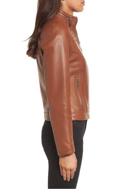 Michael Kors Browm Leather Racer Fitted Cognac Jacket