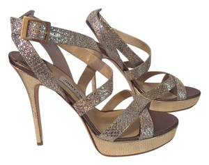 Jimmy Choo Lame Giitter Champagne Gold Bronze Sandals