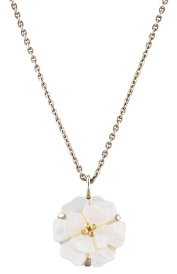 Preload https://item3.tradesy.com/images/chanel-mother-of-pearl-white-silver-pendant-camellia-flower-cc-logo-mop-98a-necklace-22508132-0-7.jpg?width=440&height=440