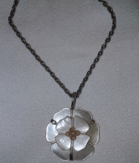 Chanel Pendant White Camellia Flower Silver CC Logo Mother of Pearl MOP 98A