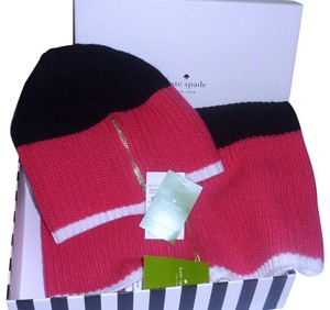 Kate Spade Set Zip Up Women's Knit Muffler Scarf and Beanie Hat NWT Gift Box