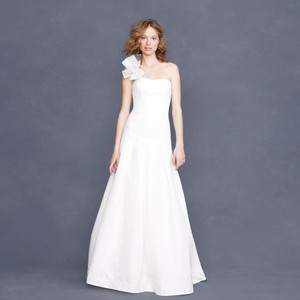 J.Crew Ivory Cotton Silk Alessa Feminine Wedding Dress Size 10 (M)
