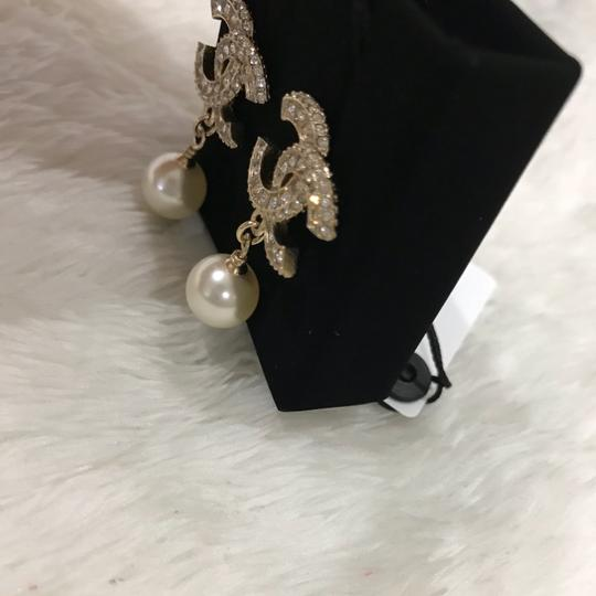 Chanel NWT Chanel classic CC crystal pearl dangle earrings