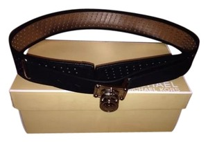 Michael Kors Michael Kors Black Perforated Saffiano Leather Wide Belt