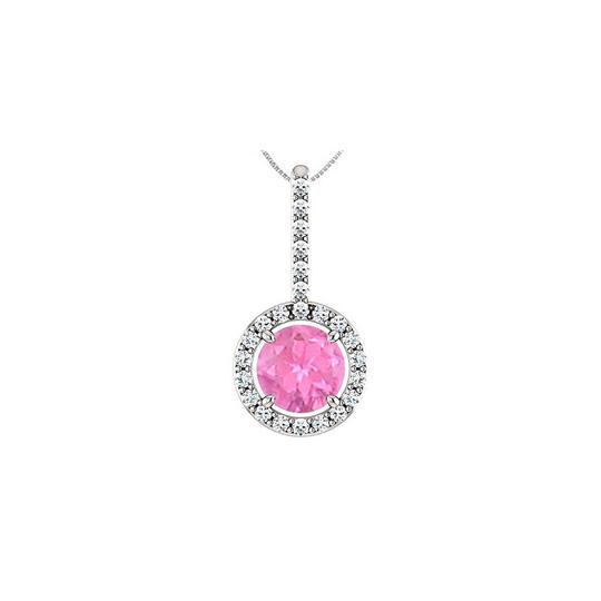 Preload https://img-static.tradesy.com/item/22508307/pink-silver-created-sapphire-pendant-with-cubic-zirconia-halo-style-necklace-0-0-540-540.jpg