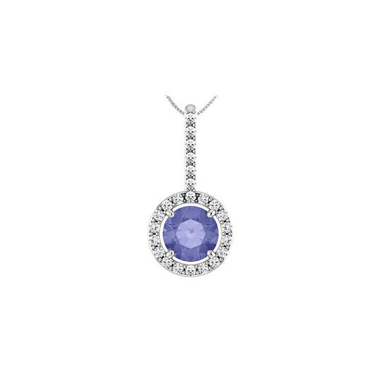 Preload https://img-static.tradesy.com/item/22508364/blue-silver-cz-drop-pendant-with-created-tanzanite-halo-style-in-925-sterling-necklace-0-0-540-540.jpg