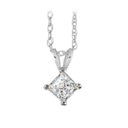 Preload https://item1.tradesy.com/images/white-free-chain-with-princess-cut-diamond-solitaire-pendant-necklace-22508425-0-0.jpg?width=440&height=440