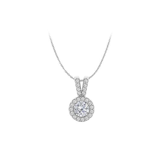 Marco B Rhodium Plated CZ Halo Pendant in 925 Sterling Silver