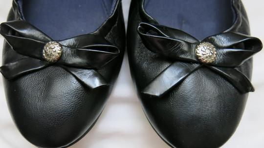 Jack Rogers Ballet Leather Bow Black Flats