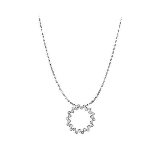 Preload https://item1.tradesy.com/images/white-silver-cubic-zirconia-circle-pendant-free-18inch-long-chain-necklace-22508655-0-0.jpg?width=440&height=440
