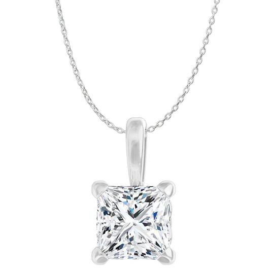 Marco B Princess Cut CZ 4 Prong Fleur de lis Pendant White Gold