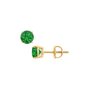 DesignByVeronica 14K Yellow Gold Prong Set Created Emerald Stud Earrings 0.50 CT TGW