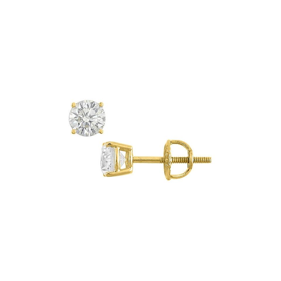 White Yellow 14k Gold Round Cubic Zirconia Stud 0 50 Ct Tw Earrings 58 Off Retail