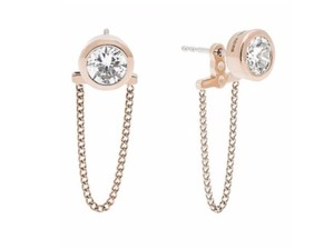 Michael Kors NWT MICHAEL KORS ROSE GOLD TONE DRAPED CRYSTAL CHAIN EARRINGS MKJ5848
