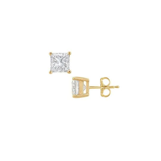Veronica V. 18K Yellow Gold Vermeil Princess Cubic Zirconia Stud Earrings. Image 0