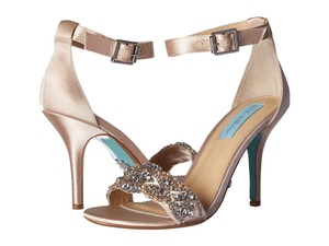 Betsey Johnson Wedding Embellished Satin Champagne Sandals