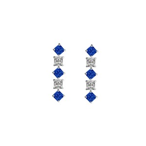 Veronica V. Created Sapphire and Cubic Zirconia Earrings 925 Sterling Silver