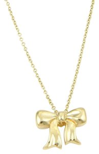 Tiffany & Co. 18kt Yellow Gold Ribbon Bow Pendant & Chain