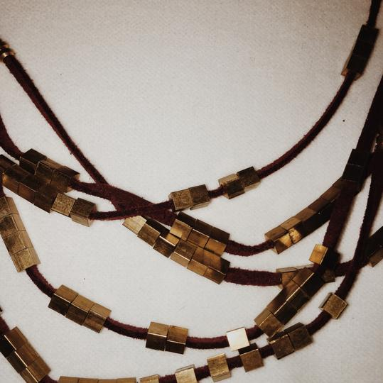 Anthropologie Gold and Burgundy Suede Necklace Image 1
