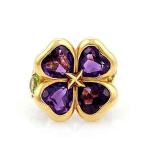 Other Amethyst & Peridot 18k Gold Floral Design Ring-
