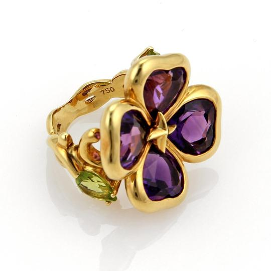 Other Amethyst & Peridot 18k Gold Floral Design Ring- Image 2