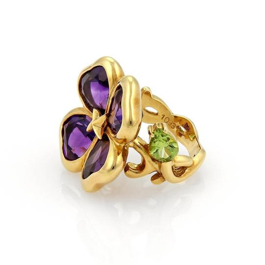 Other Amethyst & Peridot 18k Gold Floral Design Ring- Image 3