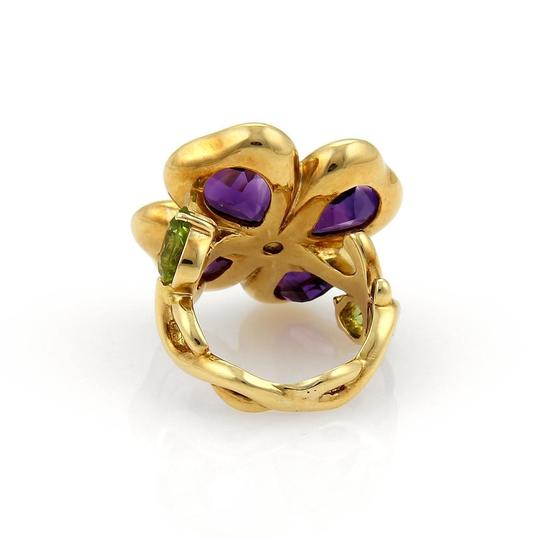 Other Amethyst & Peridot 18k Gold Floral Design Ring- Image 4