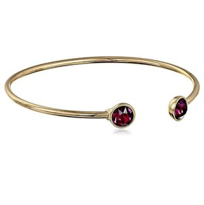 Kate Spade Gold and Amethyst Open Cuff Crystal Bangle Bracelet