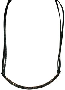 Anthropologie Brown Leather Necklace with bronze pave gems